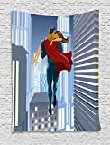 asddcdfdd Superhero Tapestry, Romance Man Super Powers Rescues His Beloved Flying in Skyscrapers Love Design, Wall Hanging for Bedroom Living Room Dorm, 60 W X 80 L Inches, Blue Grey Red