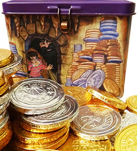 Belgian Milk Chocolate Wizard Coins in Collectible Harry Potter Money Box Bank with Padlock and Key