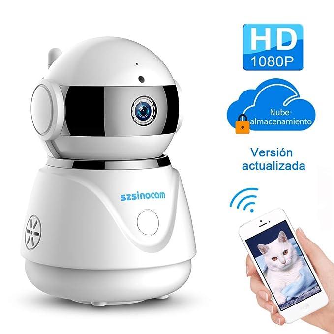 IP cámara WiFi,cámara IP Szsinocam cámaras de vigilancia wifi interior 1080P Servicio nube P2P IR Visión Nocturna Detección de Movimiento,Seguridad para ...