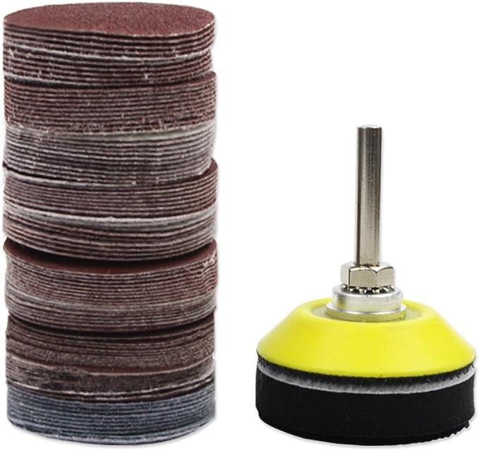 para amoladora de taladro Juego de discos de lija de 5 cm 100 unidades herramientas rotativas con placa de respaldo de 1//4 pulgadas SovelyBoFan incluye papel de lija de grano 80-3000