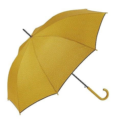 GOTTA Paraguas Largo de Mujer, automático con puño Curvo de plástico. Tejido Estampado Lunares