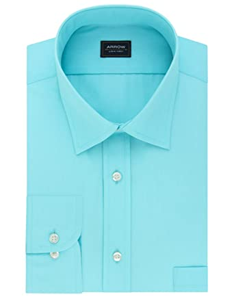 "76dd9d900304d6 Arrow Mens Regular Fit Dress Shirt Solid Blue (Small (14-14.5"" Neck"