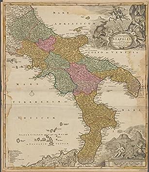 Amazon historic 1731 map novissima exactissima totius regni historic 1731 map novissima exactissima totius regni neapolis tabula italy switzerland gumiabroncs Choice Image