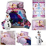 Disney Frozen Girls 7 Piece Bed in a Bag Twin Bedding Set - Reversible Comforter, Sheets, Pillow Case, Olaf Pillow & Window Curtains