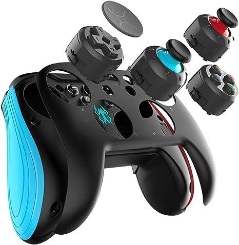 Mando inalámbrico para Nintendo Switch, controlador inalámbrico GEEKLIN, boquillas 3D para joystick y boquillas de botón intercambiables para Bluetooth Gamepad, no compatible con iOS azul: Amazon.es: Electrónica