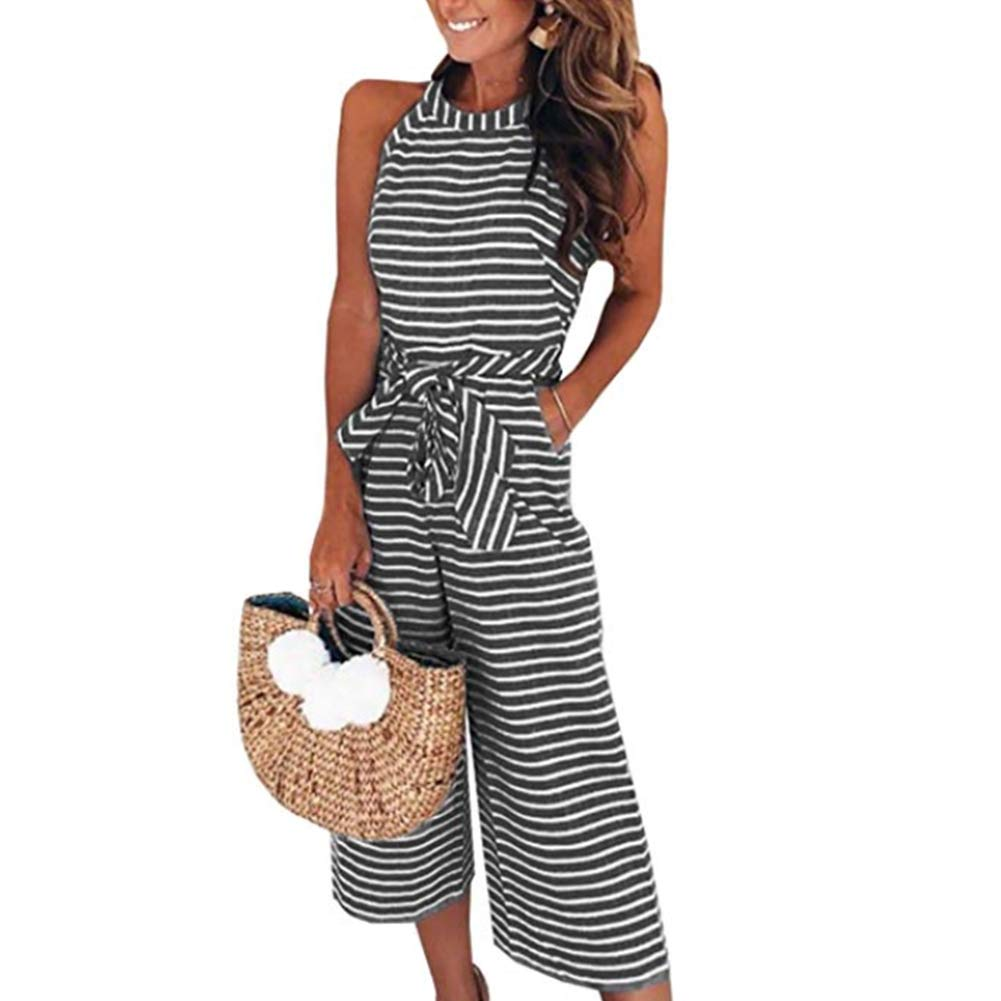 Yaso Women's Casual Striped Sleeveless Waist Belted Zipper Back Wide Leg Loose Jumpsuit Romper with Pockets Black White XL