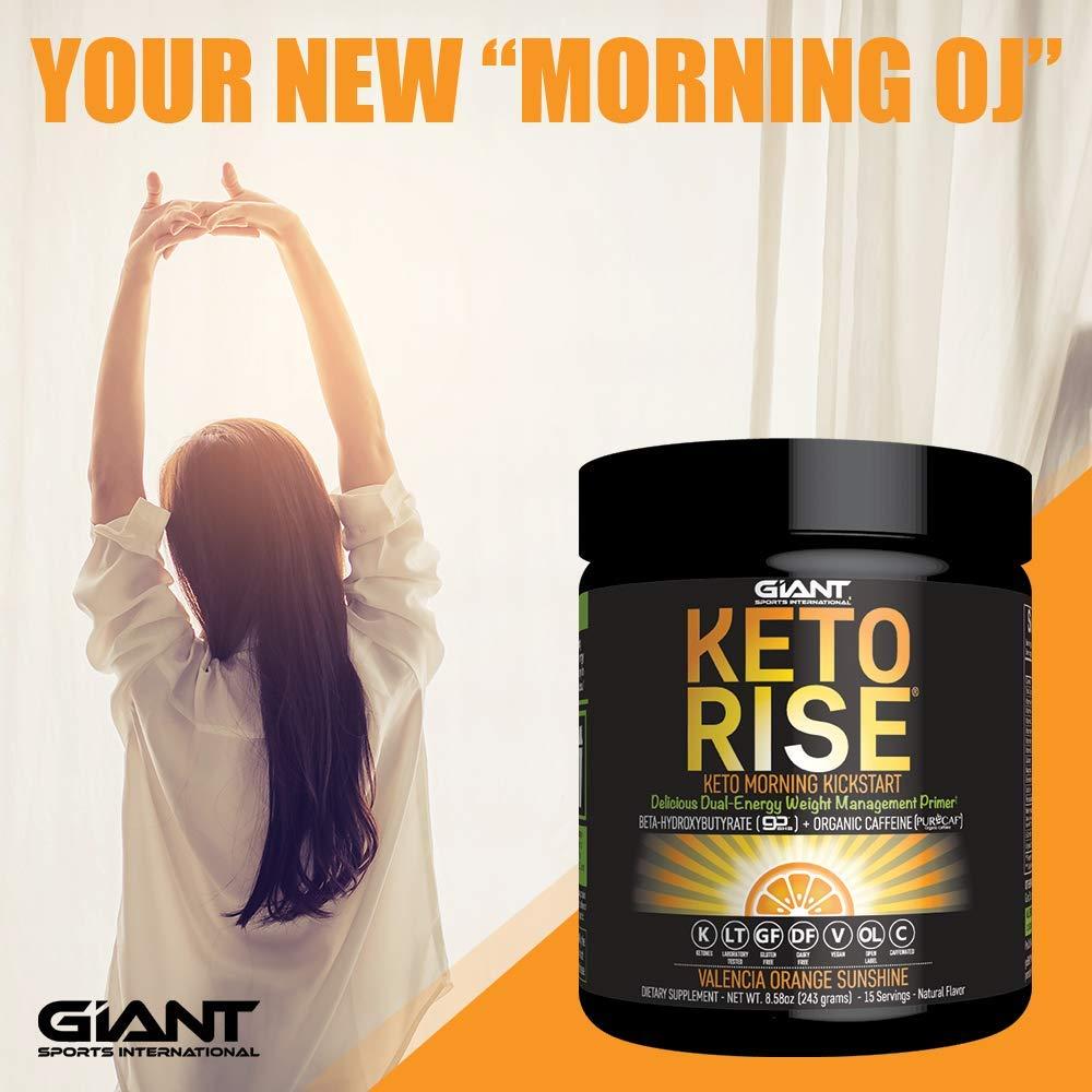 Keto Rise - Exogenous Ketones Powder with Caffeine - BHB Salt Morning Energy Formula Designed to ...