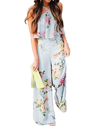 395f1f8716e Amazon.com  Ao Mo Women Boho Style Ruffled Strappy Wide Leg Floral Jumpsuit   Clothing