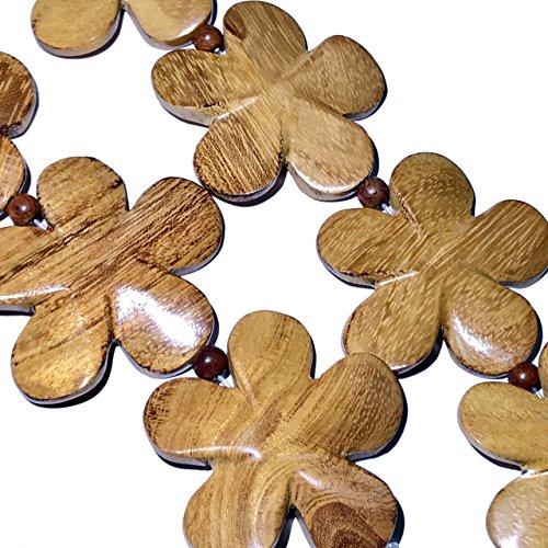 [ABCgems] Natural Jackfruit Nangka Hard Wood (Delicious Fruit Tree) Large 50mm Hand-Carved Flower Pendant (5 Focal Beads Wholesale Lot) ()