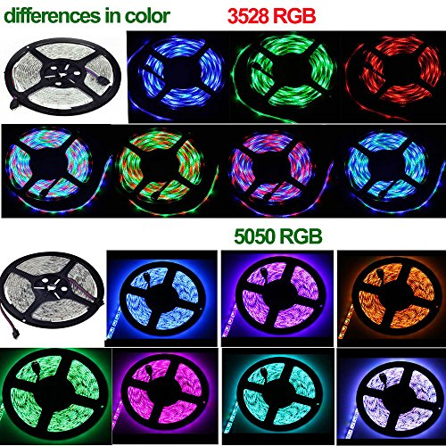 49.2ft / 15M RGB LED Strip Light, 20 Key IR Remote Music Controller, SMD 3528 RGB Color Changing Tape Light Full kit,(3x16.4ft Non-Waterproof Strip) by Firstsd (Image #8)