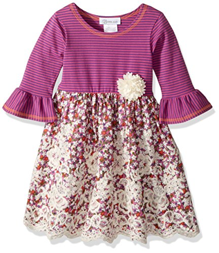 Bonnie Jean Little Girls' Knit to Floral Embroidered Scallop Dress, Purple, ()