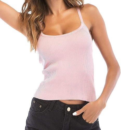 WDFSER Mujeres Volver Crochet Mariposa Color sólido Punto sin Mangas Top Moda Mujeres Prendas de Punto Tops Camisa Blusa: Amazon.es: Deportes y aire libre
