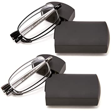 065f1a06cf2 DoubleTake 2 Pairs of Metal Compact Folding Reading Glasses with Mini Flip  Top Carrying Case for Men and Women  Amazon.in  Health   Personal Care