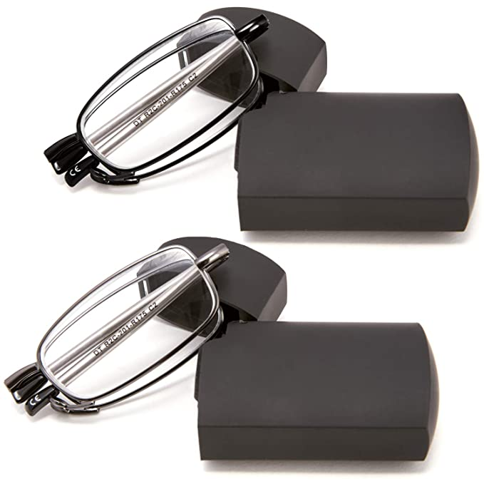 0c298f76bfb DOUBLETAKE 2 Pairs of Metal Compact Folding Reading Glasses with Mini Flip  Top Carrying Case for