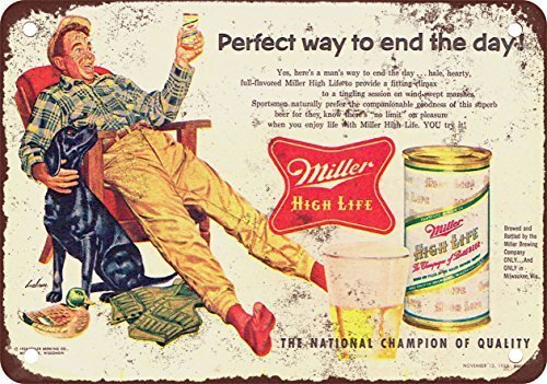 1955 Miller High Life and Hunting Vintage Look Reproduction Metal Tin Sign 12X18 Inches