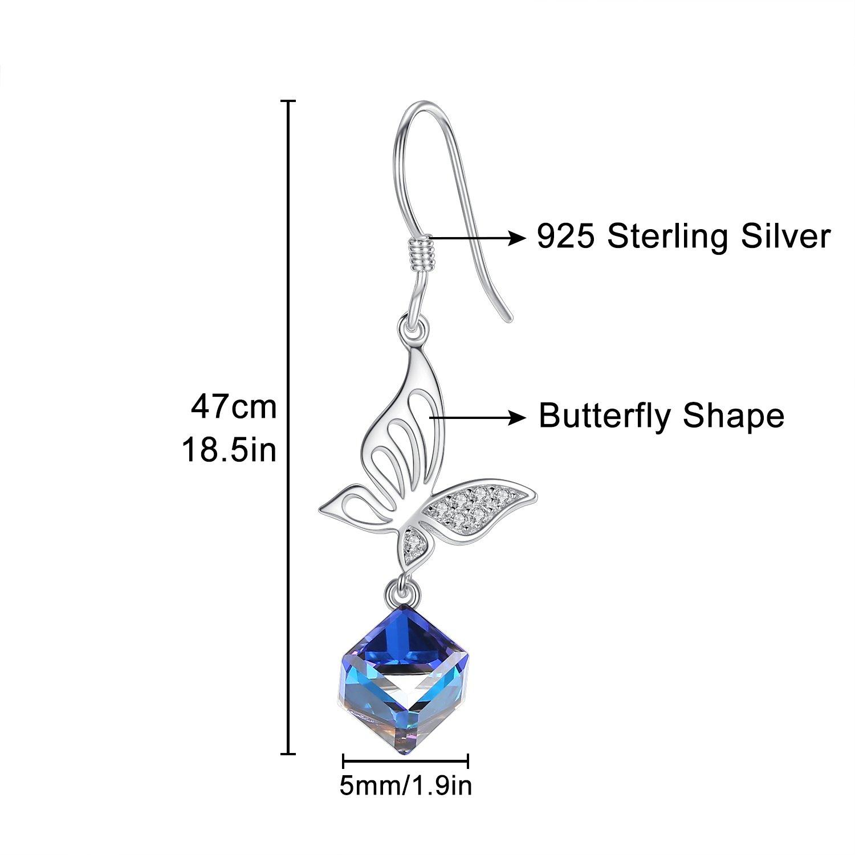 925 Sterling Silber lange Schmetterlings-Ohrringe Blau Kristall Tropfen Baumeln Ohrringe für Damen Schmuck Geschenk