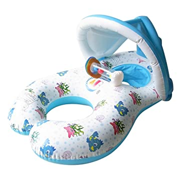 HONGCI - Flotador de natación para madre y bebé con toldo hinchable, (doble asiento, para bebé de 6 a 36 meses): Amazon.es: Juguetes y juegos