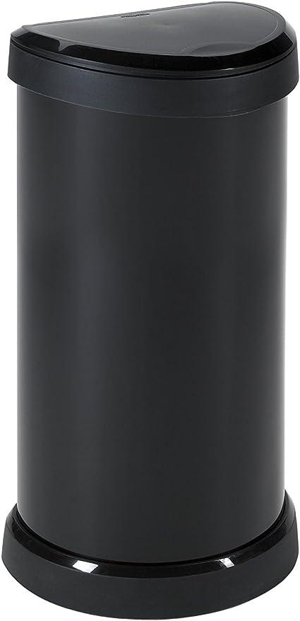 Oferta amazon: Curver One Touch 176455- Recipiente de plástic, 40 L, color negro con efecto metálico