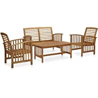 vidaXL Solid Acacia Wood Garden Lounge Set 4 Piece Wooden Outdoor Patio Bench Seat Seating Chair Coffee Table Sitting…