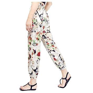 0906625d1 Lunaanco Pantalones Zumba Mujer Rebajas Pantalones de Mujer Estampados con  Pantalones Anchos Sueltos Harem Pants