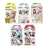 Fujifilm Instax Mini Film 5 Pack Bundle! Hello kitty, RiLakkuma, Disney Mickey & Friends, Little Twin Stars, Pooh 10 X 5 = 50 Sheets Assort Set + Stickers 20 pcs