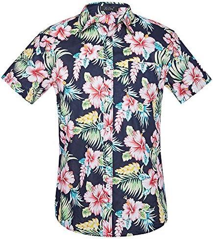 Las Flores de los Hombres de Manga Corta Camisa Hawaiana de Aloha: Amazon.es: Ropa y accesorios