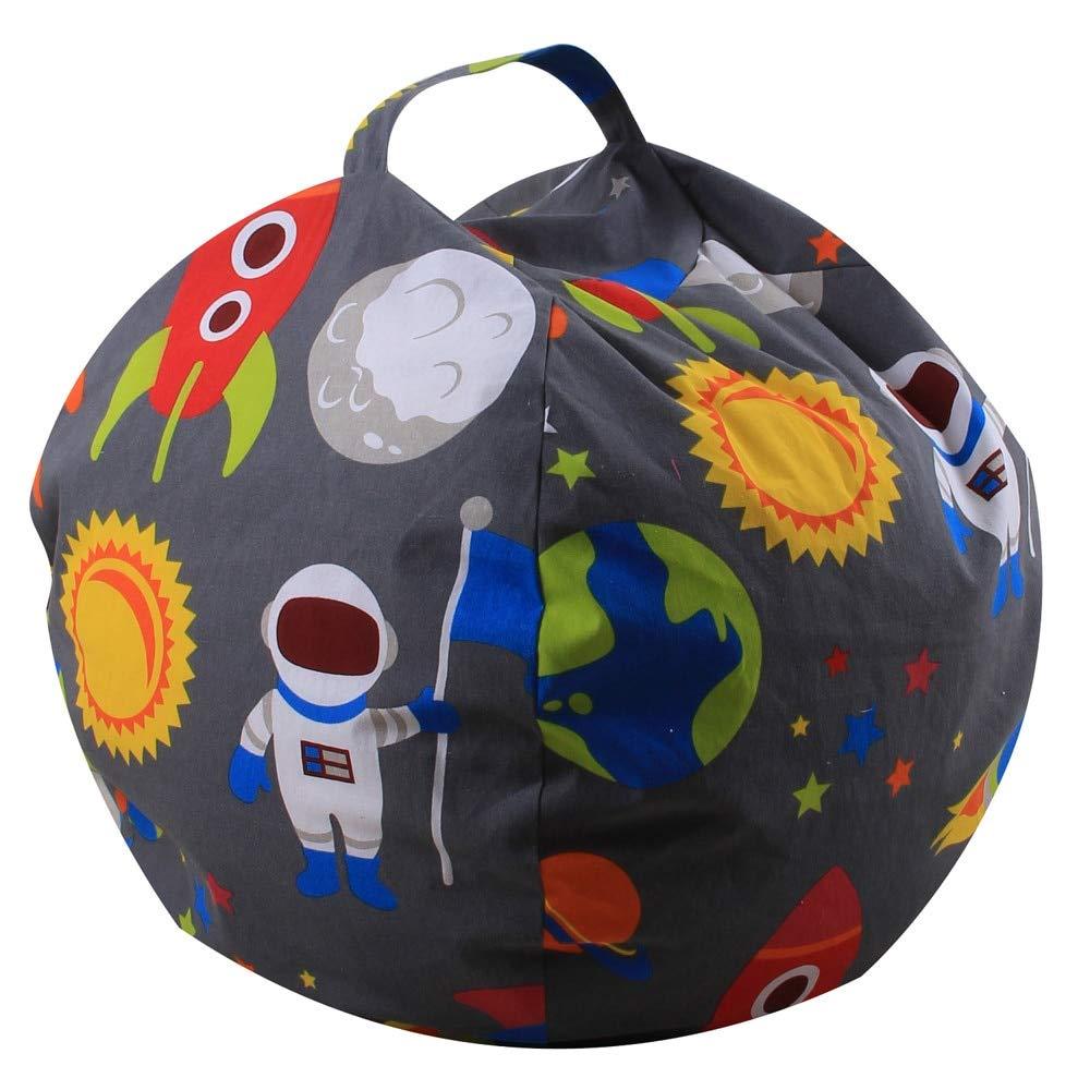 LooBooShop Stuffed Animal Plush Toy Storage Bean Bag Soft Pouch Stripe Fabric Chair by LooBooShop