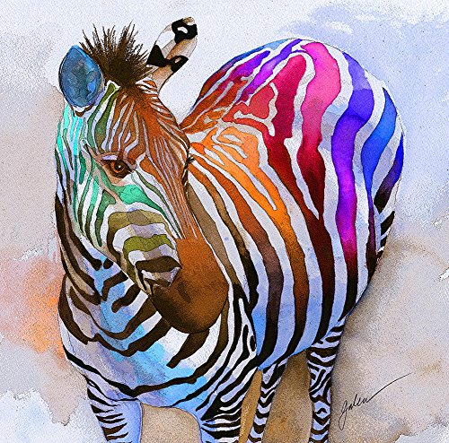 (Colored zebra Modern Canvas Print,Well-designed Abstract Horse,Animals Wall Art, Modern , Home Decor,Gallery Wrapped 24X36 inch)
