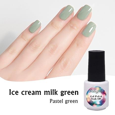 Verde Pastel, Joligel Esmaltes Permanentes Gel Perlado para Uñas Shellac Pintauñas Semipermanentes Nail Art Manicura