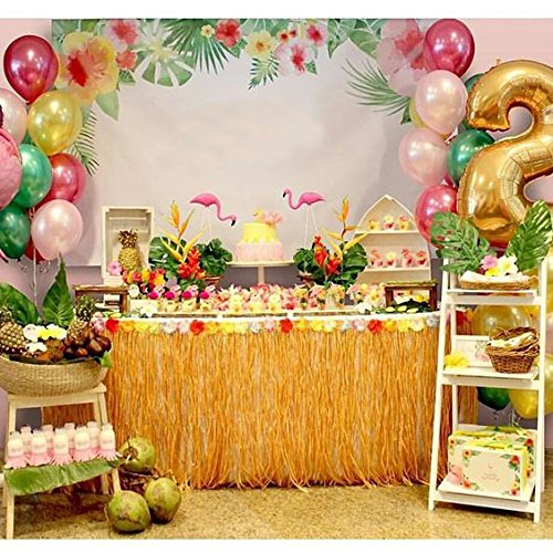 BAKHUK 1Pack 9ft Hawaiian Table Hula Grass Skirt with Little Flowers and 30Pcs Hibiscus Flowers for Tabletop Decoration, Party Decoration, Birthdays, Celebration by BAKHUK (Image #8)