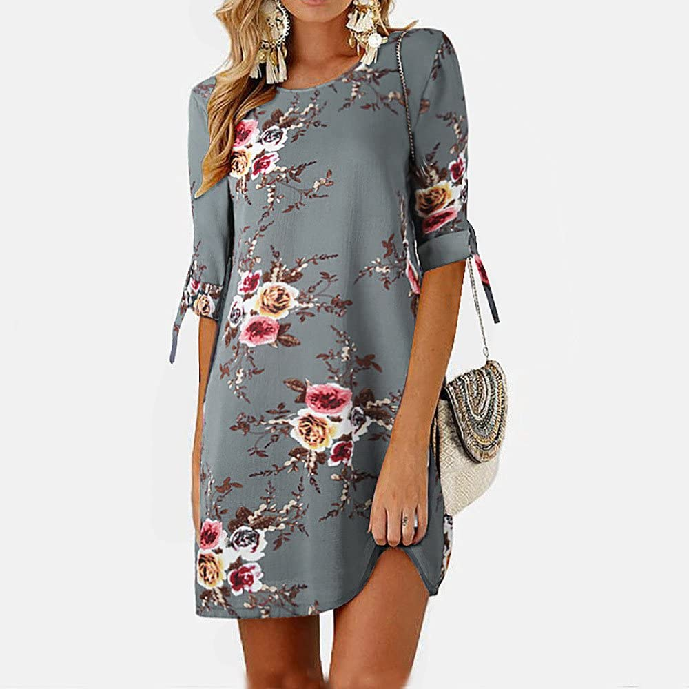 Womens Casual Vintage Floral Print Half Sleeves Cocktail Party Mini Straight Dress