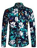 APTRO Men's Cotton Fashion Luxury Design Floral Shirt DZCX 1006 Blue XL