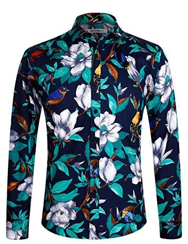 APTRO Men's Floral Cotton Long Sleeve Casual Button Down Shirt 1006 Blue 2XL