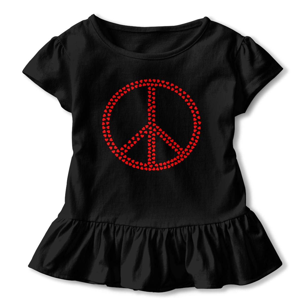 JVNSS Peace Hearts Shirt Soft Toddler Girls Flounced T Shirts Outfits for 2-6T Baby Girls