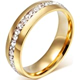 Mens Womens 6mm Titanium Stainless Steel 18k Gold Wedding Ring Channel Set Cubic Zirconia Engagement Band