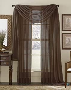 "Linens And More Amazing Sheer - 2-Piece Rod Pocket Sheer Panel Curtains Fabric Sheer - Voile Curtains for Window Treatment - Natural Light Flow (Chocolate, 55"" W x 84"" L - Each Panel)"