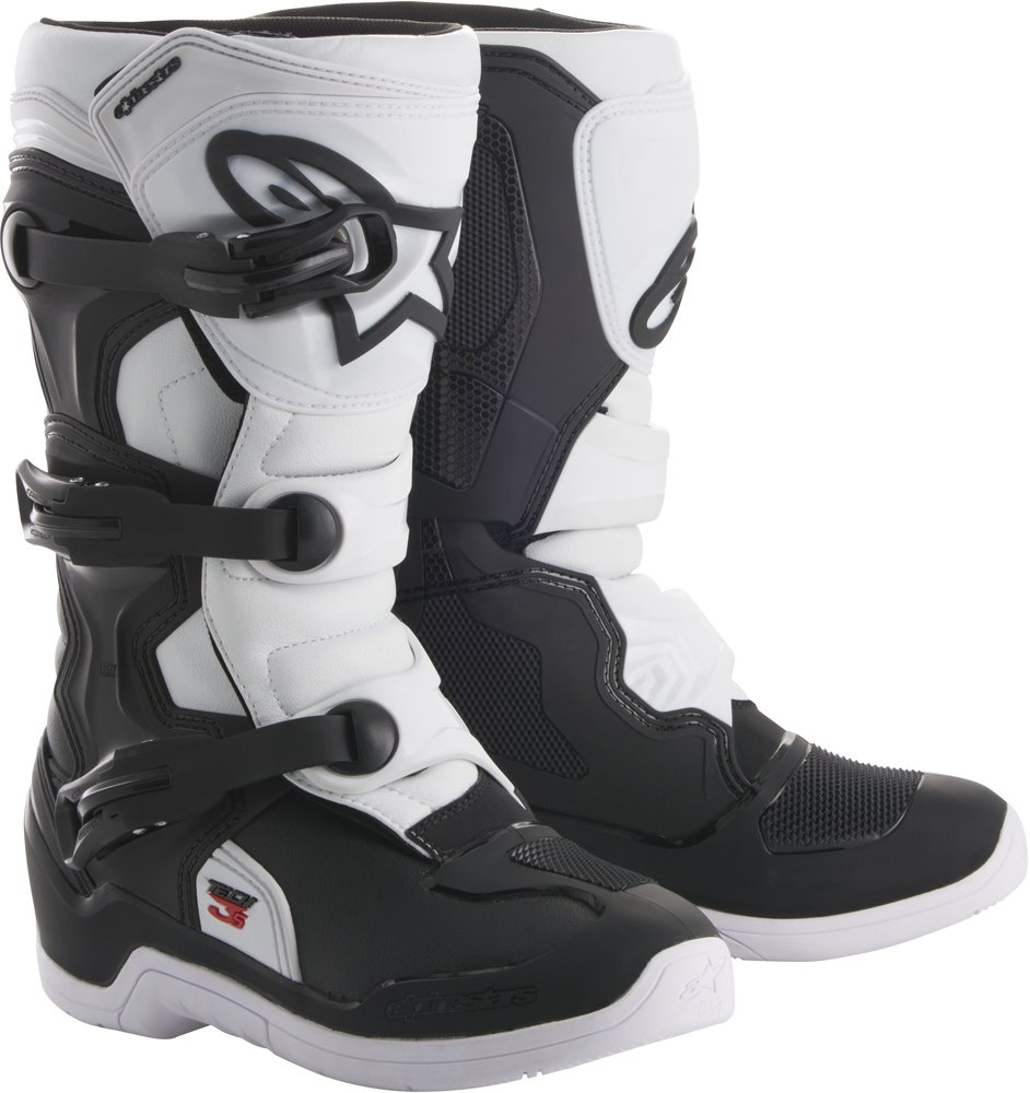 Alpinestars Tech 3S Youth Motocross Off-Road Motorcycle Boots, Black/White, Size 8