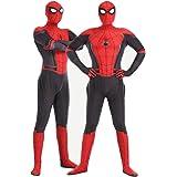 Adults Kids Spiderman Cosplay Costumes,Unisex 3D Halloween Miles Morales Superhero Jumpssuit Bodysuit