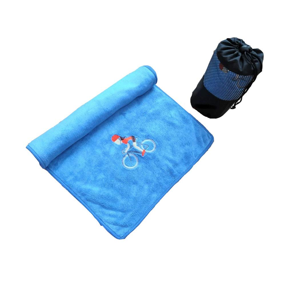 HAPPYTRY Microfiber Gym Towel, Fast Drying Sports Towel for Men Women, Large Sweat Towels with Bag for Workout Swimming Camping Beach, Blue