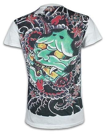 3f80159bfa47c Ako Roshi Camiseta Hombre Demonio Talla M L XL Japón Artes Marciales  Tatuaje Irezumi Hannya Buda Akuma  Amazon.es  Ropa y accesorios