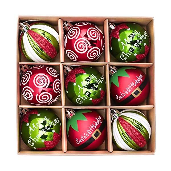 Victor's Workshop Addobbi Natalizi 9 Pezzi 6cm Palle di Natale, Delightful Elf Red Green And White Infrangibile Palla di Natale Ornamenti Decorazione per L'Albero di Natale 1 spesavip