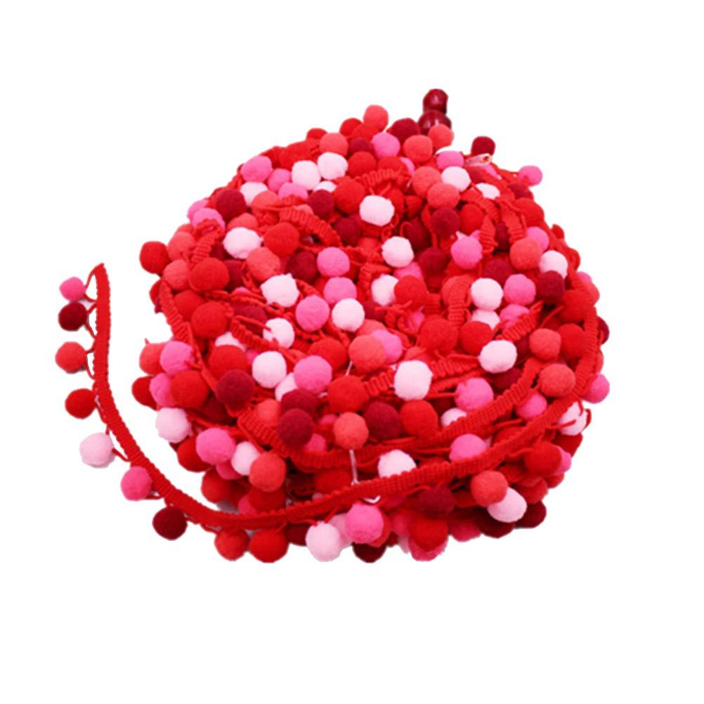 SUPVOX Bordure /à Pompons Galon Pompon Ruban Couture Dentelle Frange Garniture pour DIY 4.5m Rouge