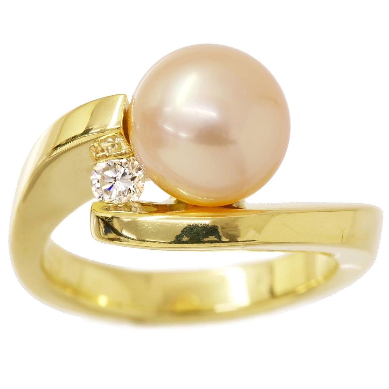 淡水真珠 9mm ダイヤ K18 リング 13号 パール ダイア 指輪 【中古】 90049284 B07DLQ4T56