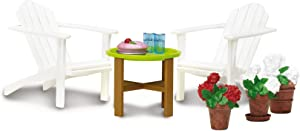 Lundby 60304900 Garden Furniture Set, White.Wood