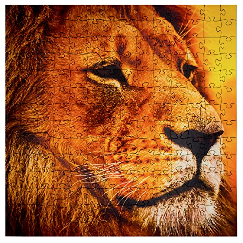 Puzzle Lion Wooden - Mosaic Puzzles Wooden Jigsaw Puzzle - Lion on The African Savannah - 203 Unique Pieces Challenge Any Puzzle Lover from Ages 8 to 98 - Made in The USA by Zen Art & Design