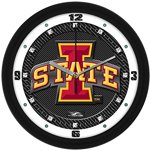 SunTime NCAA Iowa State Cyclones Textured Carbon Fiber Wall Clock