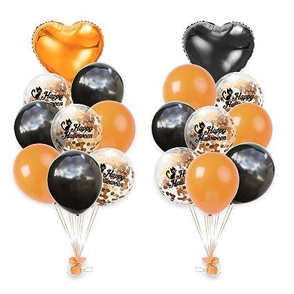 18 pezzi Oro Coriandoli palloncini Halloween in alluminio pellicola  palloncini per Party con decorazioni arancione nero 9a43237a76a2