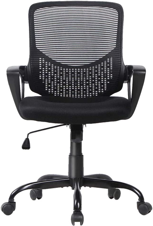SMUGDESK Office Chair Ergonomic Lumbar Support Swivel Executive Rolling Mesh Computer with Armrests, Black