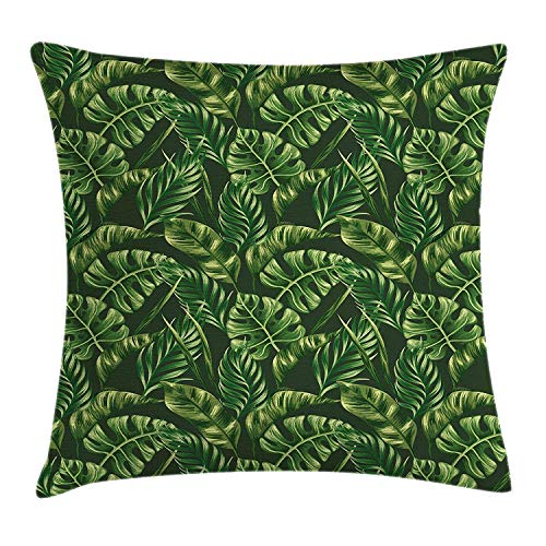 (YVSXO Hunter Green Throw Pillow Cushion Cover, Tropical Palm Leaves Exotic Plants Zen Hawaiian Trees Jungle Natural Design, Decorative Square Accent Pillow Case, 18 X 18 inches, Fern Green)