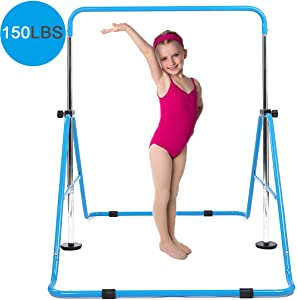 DOBESTS Gymnastics Bar Kids Gymnastic Equipment for Home Folding Junior Training Bars Expandable Kip Bar for 3-7 Years Old Children